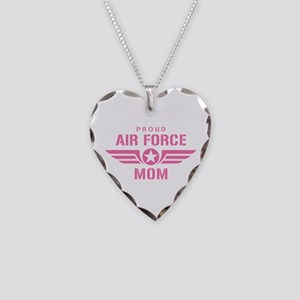 Proud Air Force Mom W [pink] Necklace Heart Charm
